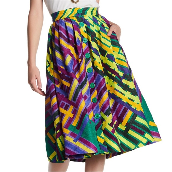 d9704bdf887f51 Tracy Reese Skirts | Silk Linen Pleated Skirt Size 2 | Poshmark